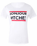 White Crew Neck Slogan Print  T-shirt