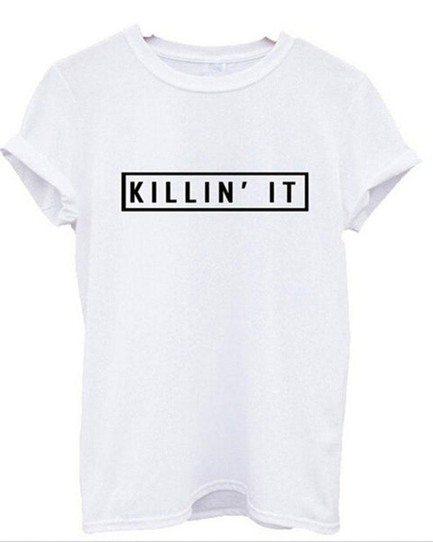 White Slogan Print Rolled Sleeve T-shirt
