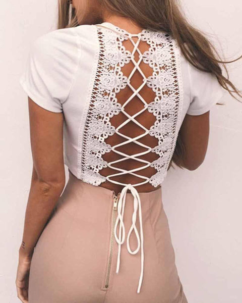 Deep V Neck Back Lace up Contrast Cropped T-shirt