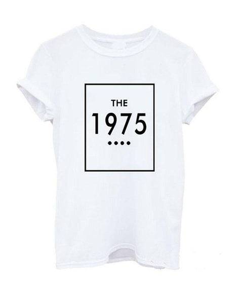 White The 1975 Slogan Print Rolled Sleeve T-shirt