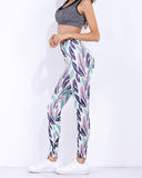High Waist Leaf Print Color Block Leggings