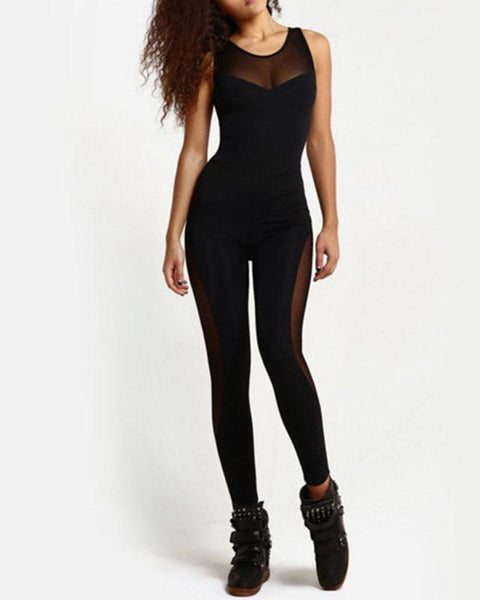 Active Mesh Contrast Cut Out Backless Jumpsuit