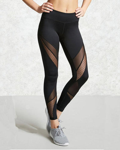 Dot Mesh Contrast Wide Elastic Waistband Leggings