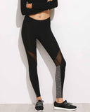 Active Mesh Color Block Contrast Leggings