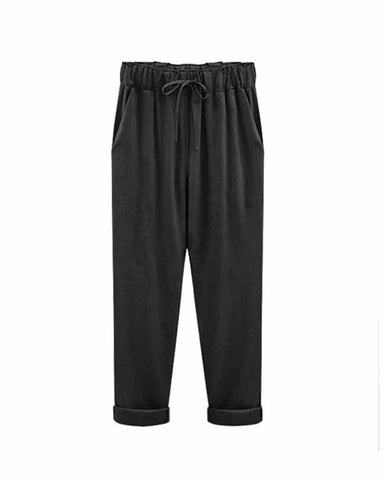 Black Drawstring Waist Ankle Pants