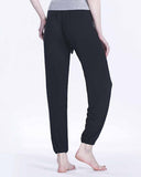 Active Black Drawsting Waist Plain Pants