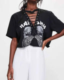 Deep V Neck Letter Print Lace Up Choker Crop Tee