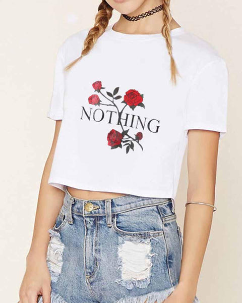 Floral and Slogan Print Cropped T-shirt