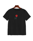 Crew Neck Rose Print T-shirt