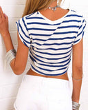 Stripe Lace Up Knotted Cropped T-shirt