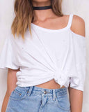 Cut out Open Shoulder T-shirt