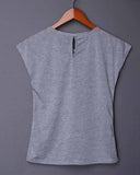 Anchors Print Cut Out Grey T-shirt