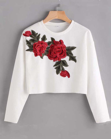 Floral Embroidered Patched Cropped Sweatshirt