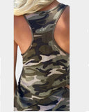 Scoop Neck Camo Print Tank Top
