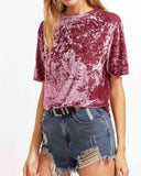 Crew Neck Crushed Velvet T-shirt