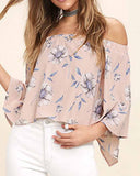 Pink Off the Shoulder Floral Print Overlap Blouse