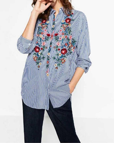 Blue Floral Embroidery Striped Dip Hem Blouse
