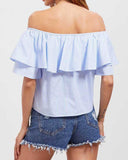 Ruffle Off the Shoulder Rose Embroidery Knotted Blouse