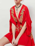 Red Plunge V-neck Embroidery Tribal Pattern Roll-up Sleeve Mini Dress