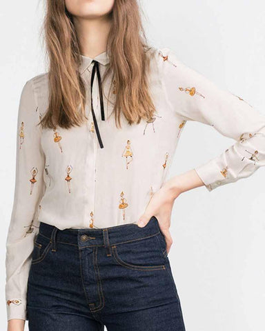 Basic Ballet Print Lace Up Blouse