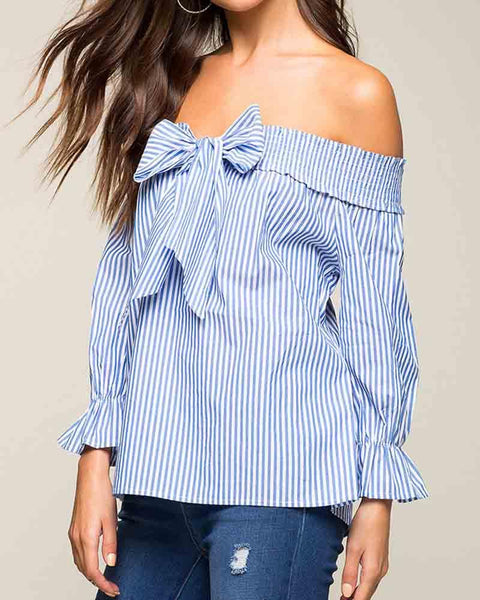 Striped Off Shoulder Bow Tie Blouse