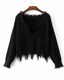 Black V Neck Drop Shoulder Distressed Hem Sweater
