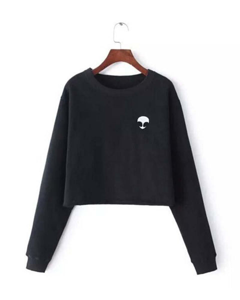 Black Alien Print Crop Black Sweatshirt