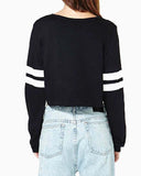 Black Color Block Contrast Stripped Crop Sweatshirt