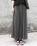 Grey Plain Pleated Skirt