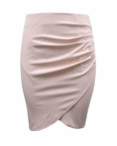 Beige Asymmetrical Ruched Overlap Bodycon Skirt