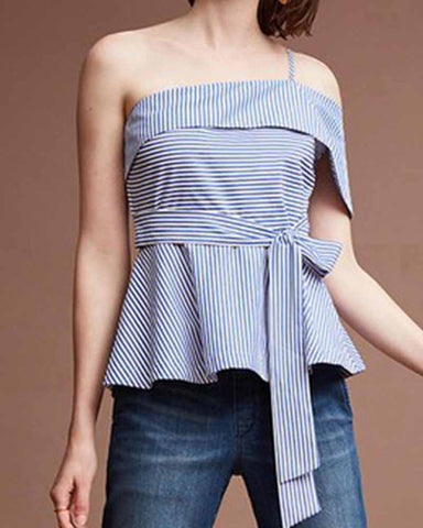 Asymmetric One Shoulder Stripe Self Tie Blouse