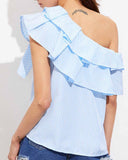 Ruffle Layered One Shoulder Striped Blouse