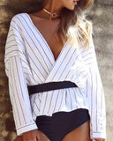Casual Stripe Off Shoulder Blouse