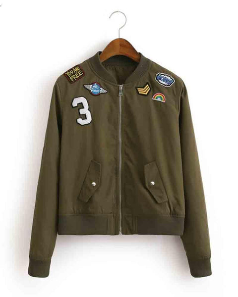 Army Green Badge Embroidery Bomber Jacket