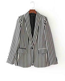 Boyfriend Striped Lapel Single Button Blazer