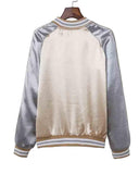 Beige Color Block Striped Trim Button Front Baseball Jacket