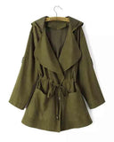 Army Green Roll Tap Sleeve Drawstring Hooded Coat