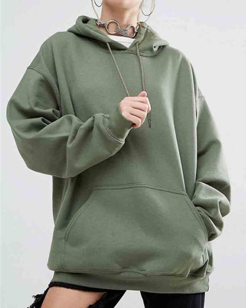 Army Green Oversize Drop Shoulder Hooded Drawstring Sweatshirt