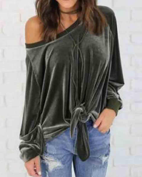 Army Green Velvet One Shoulder Knotted Hem Army Green Sweatshirt