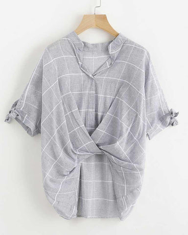 Light Grey Plaid Tie Sleeve Drape Front Blouse