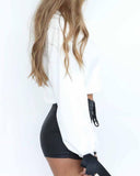 White Letters Embroidered Tie Sleeve Crop White Sweatshirt