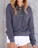 Dark Gray Lace Up Drop Shoulder Sweatshirt