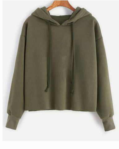 Green Basic Drawstring Hooded Sweatshirt