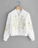 White Flower Embroidered Sequin Detail Jacket