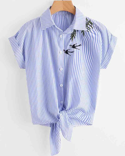 Bird Embroidered Stripe Print Knotted Blouse