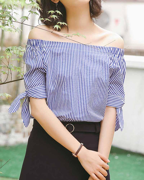 Off the Shoulder Tie Sleeve Stripe Blouse