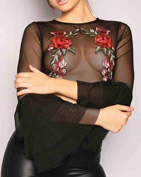 Floral Embroidered Bell Sleeve Crop Mesh Blouse