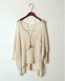 Beige Cut Out Drop Shoulder Dip Hem Loose Sweater