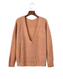 Apricot Deep V Drop Shoulder Reversible Sweater
