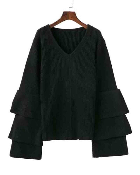 Plain Black V Neck Lantern Sleeve Sweater